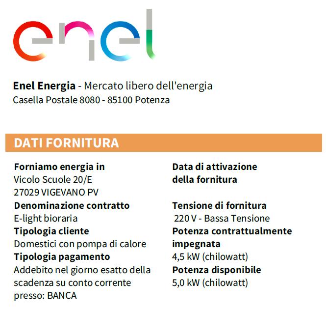 Tariffa d1 pompe di calore 2018 la tariffa td 2018 for Enel gas bolletta