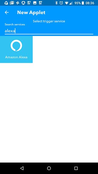 Applet Alexa IFTTT: scelta trigger (evento)