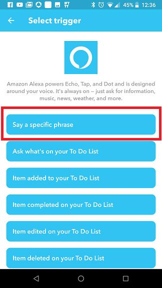 Alexa IFTTT