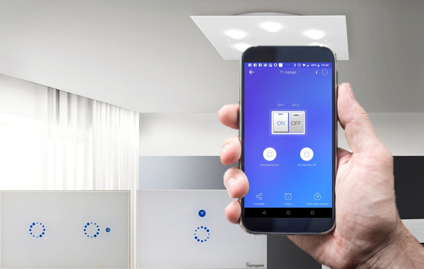 Sonoff Touch US vs Sonoff T1 | Deviatore Interruttore WiFi da incasso
