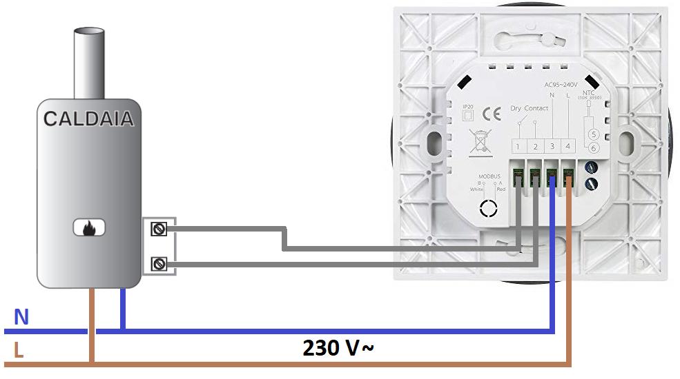 Termostato WiFi Decdeal BHT-6000-GC collegamento caldaia