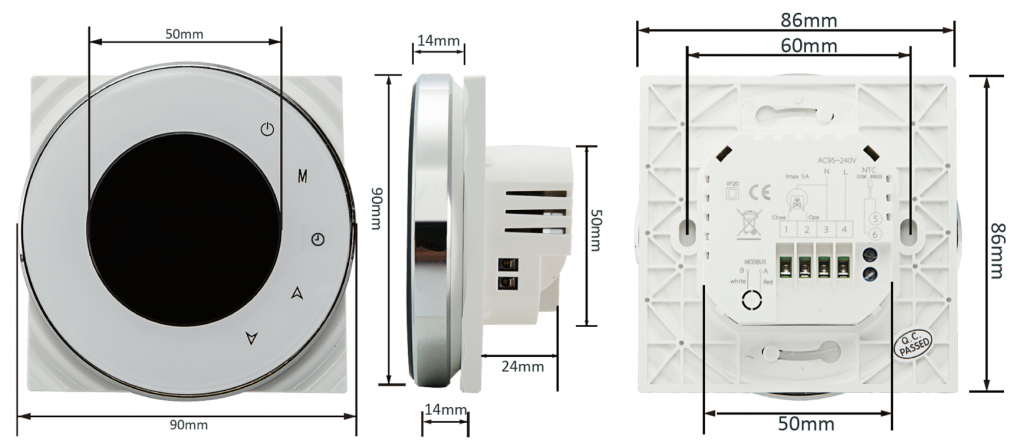 Termostato WiFi Decdeal BHT-6000-GC dimensioni
