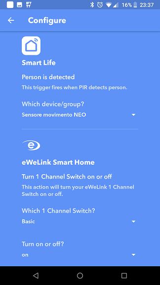 Sensore movimento WiFi NEO Smart Life IFTTT