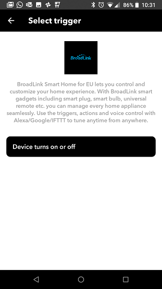 IFTTT BroadLink Smart Home for EU trigger
