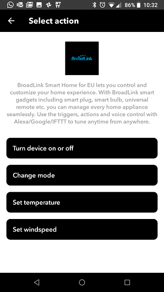 IFTTT BroadLink Smart Home for EU action