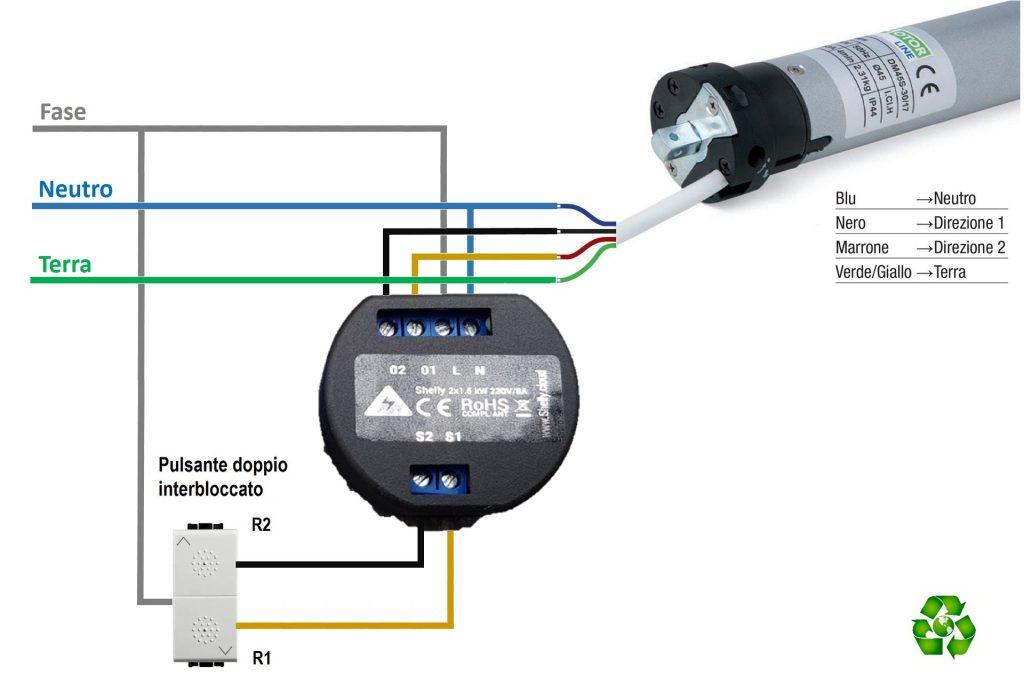 Schema elettrico di collegamento tra Shelly 2 e motore tapparelle elettriche