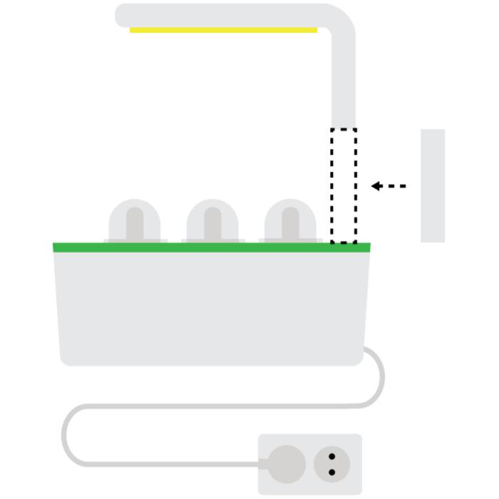 6. Quando la pianta avrà raggiunto la lampada, utilizzare il prolungamento dei bracci