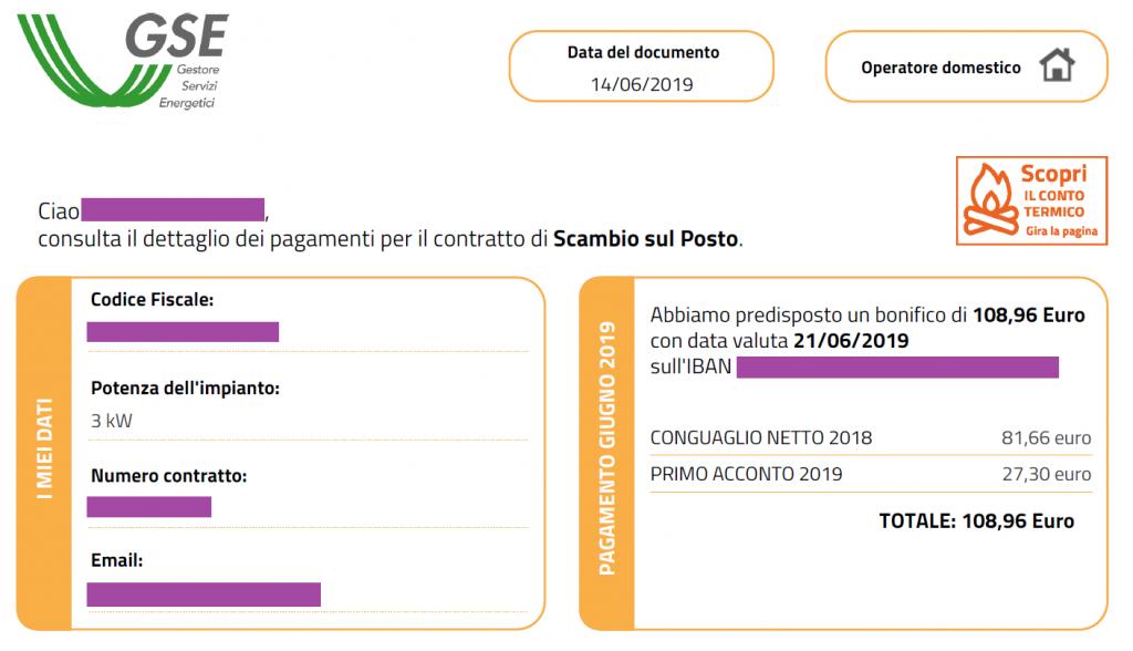 Pagamenti GSE 2019
