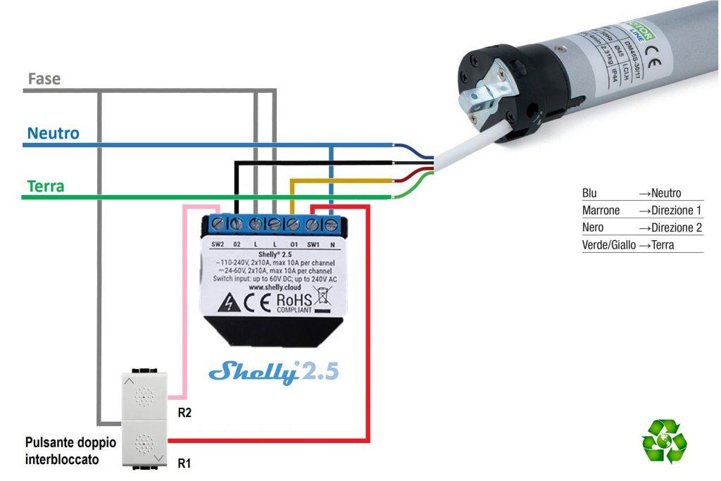 Schema elettrico di collegamento tra Shelly 2.5 tapparelle elettriche