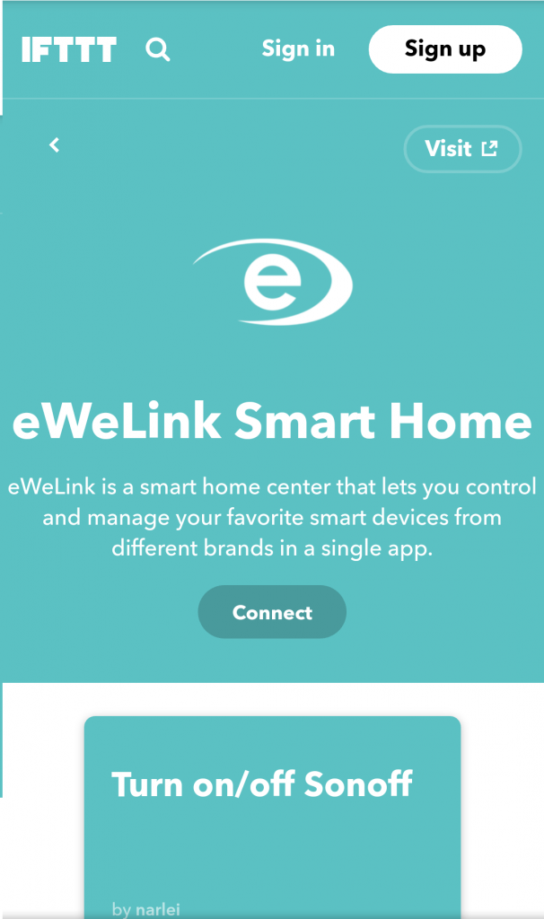eWeLink Smart Home IFTTT Sonoff