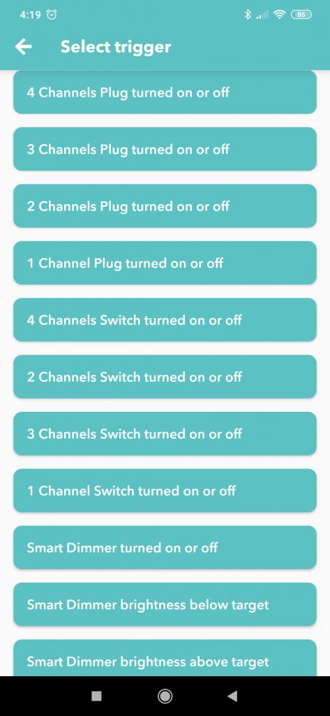eWeLink Smart Home IFTTT Sonoff trigger