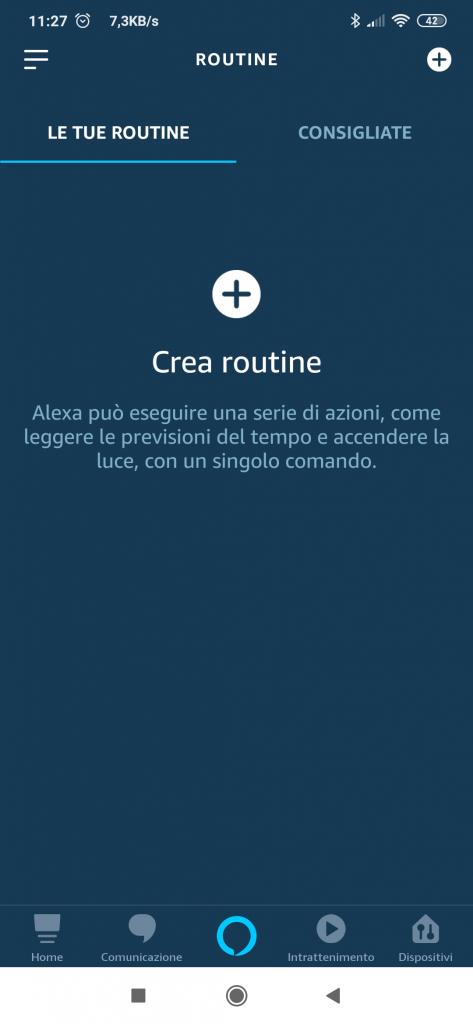 Creare routine Alexa