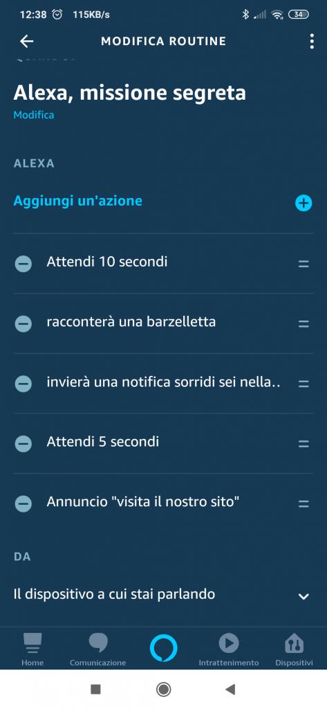 Impostare routine Alexa