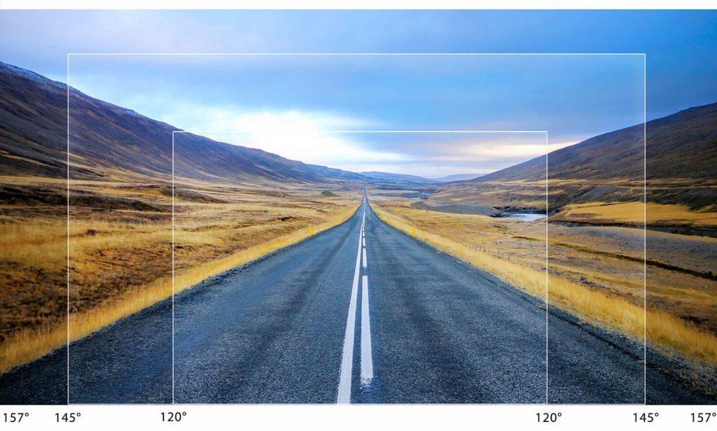 Differenti ampiezze del campo visivo per una telecamera per auto dash cam