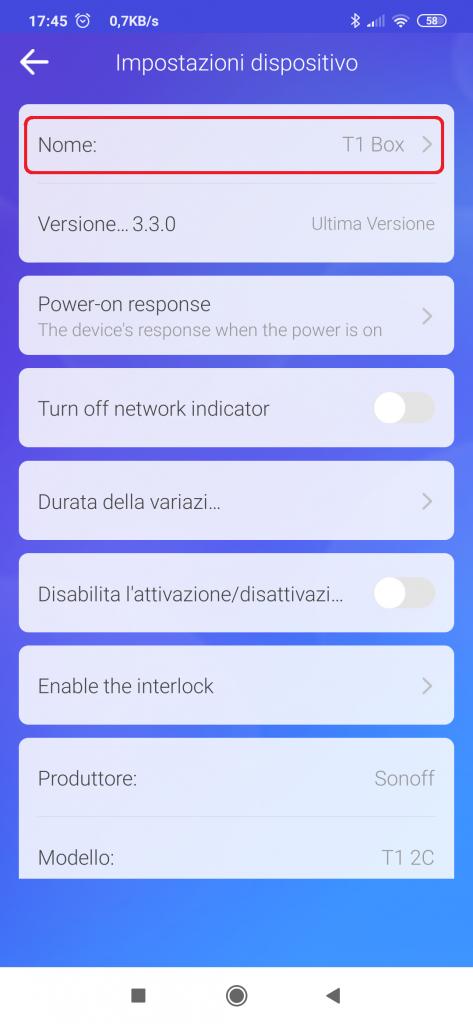 eWeLink Impostazioni dispositivo