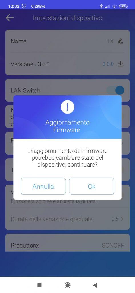 aggiornare firmware sonoff