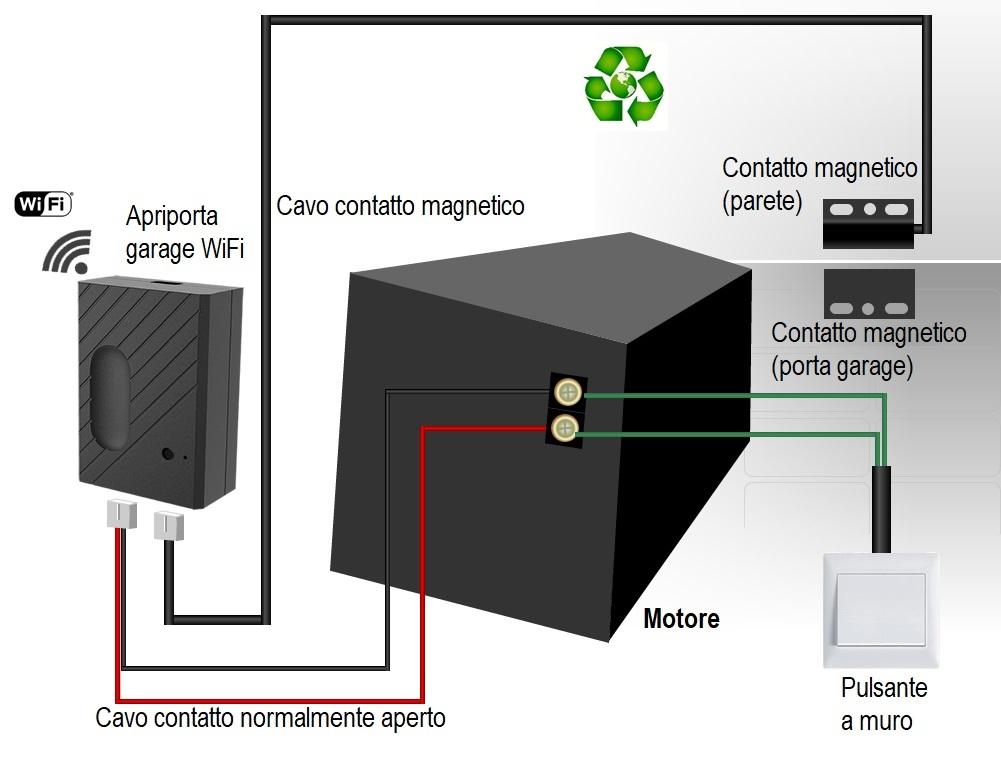 Schema elettrico collegamento apriporta WiFi smart per garage