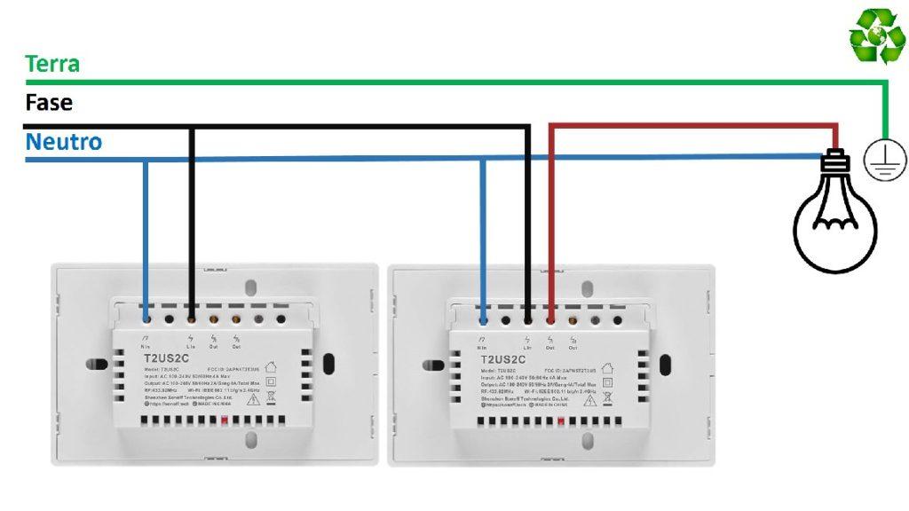 Sonoff TX schema elettrico collegamento di collegamento deviatore