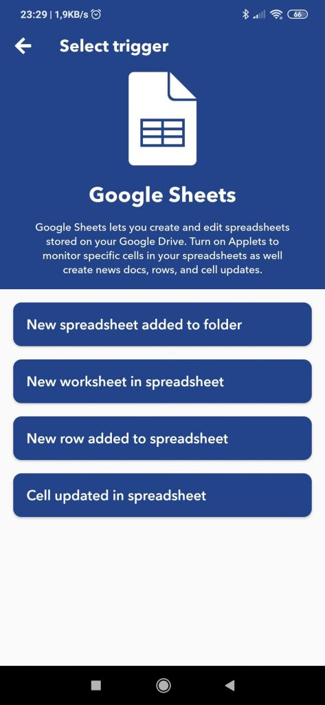 IFTTT Google Sheets
