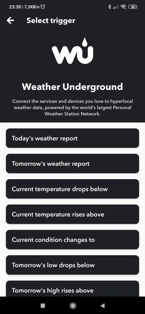 IFTTT Weather Underground