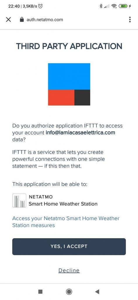 Netatmo Weather Station IFTTT