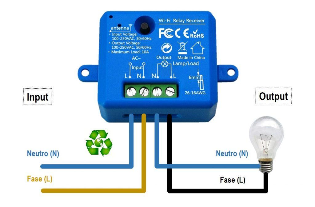 Schema di collegamento Interruttore smart WiFi LoraTap