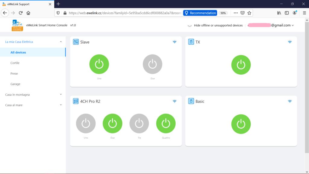 eWeLink Web: come comandare Sonoff da PC Windows e Mac