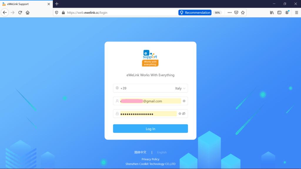 Login eWeLink Web per comandare Sonoff con PC Windows e Mac