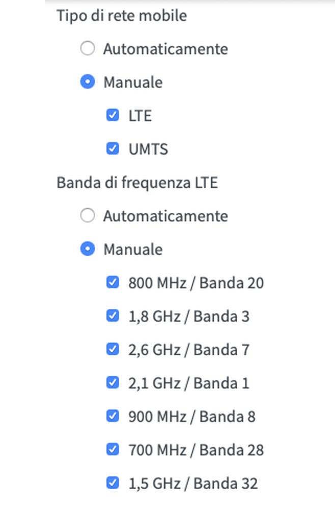 Selezione manuale bande LTE modem router 4G AVM FRITZ!Box 6890